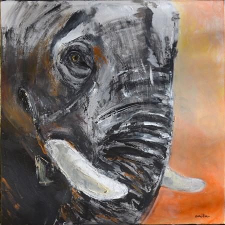 © Anita Singharaj-Panarotto 2014. Eléphant. Acrylique 8Ox80 cm.